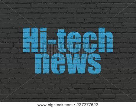 News Concept: Painted Blue Text Hi-tech News On Black Brick Wall Background