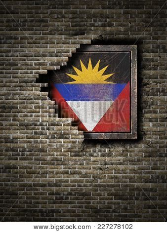3d Rendering Of An Antigua And Barbuda Flag Over A Rusty Metallic Plate Embebed On An Old Brick Wall
