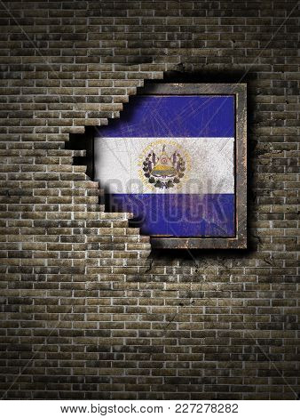 3d Rendering Of A Republic Of El Salvador Flag Over A Rusty Metallic Plate Embebed On An Old Brick W