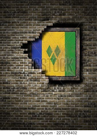 3d Rendering Of A Saint Vincent And The Grenadines Flag Over A Rusty Metallic Plate Embebed On An Ol