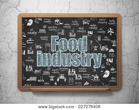 Industry Concept: Chalk Blue Text Food Industry On School Board Background With  Hand Drawn Industry