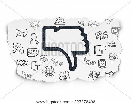 Social Network Concept: Painted Black Thumb Down Icon On Torn Paper Background With  Hand Drawn Soci