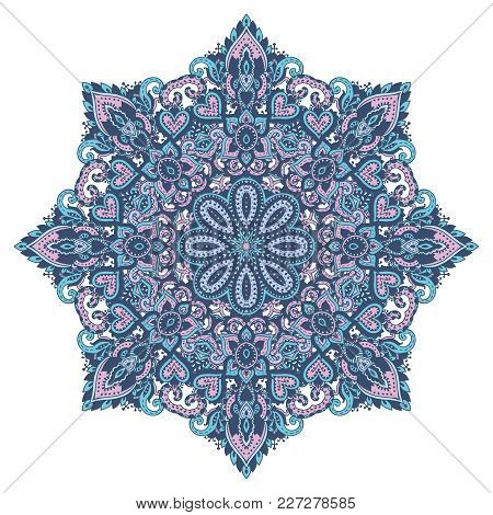 Vector Mandala Pattern Of Henna Floral Elements Based On Traditional Asian Ornaments. Paisley Mehndi