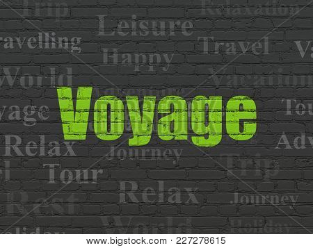 Tourism Concept: Painted Green Text Voyage On Black Brick Wall Background With  Tag Cloud
