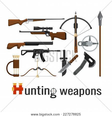 Set Of Hunting Weapons, Firearms And Knives On A White Background