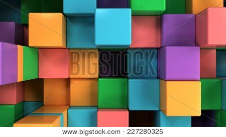Wall Of Blue, Green, Orange And Purple Cubes