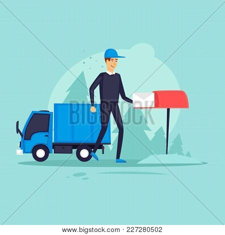 Postman Brought The Letter To The Mailbox. Flat Design Vector Illustration.