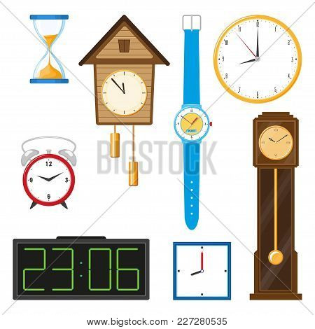 Vector Flat Types Of Clocks Set. Digital Wall Mounted Clock, Hourglass, Sandglass, Table Clock, Alar