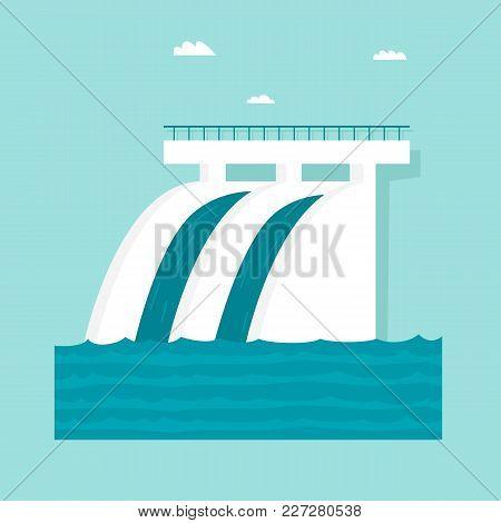 Alternative Energy Sources. Hydroelectric Power Station. Flat Design Vector Illustration.