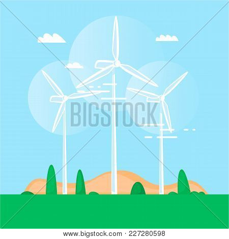 Alternative Energy Sources. Wind Turbine. Windmills. Flat Design Vector Illustration.