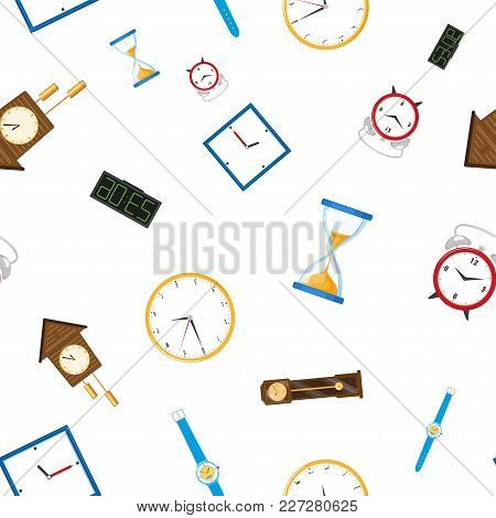 Vector Flat Types Of Clocks Seamless Pattern. Digital Wall Mounted Clock, Hourglass, Sandglass, Tabl