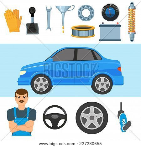 Car, Auto, Automobile, Mechanic And Set Of Parts - Wheel, Tires, Pedal, Battery, Air Filter, Shock A
