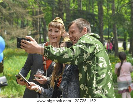 Pyatigorsk, Russia - May 09, 2017: Group Of Friends Making Selfie With Smart Phone On The Victory Da