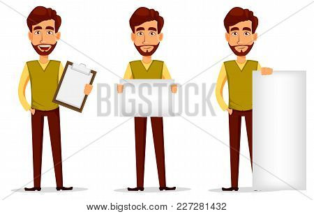 Business Man With Beard, Cartoon Character Set. Young Handsome Businessman In Smart Casual Clothes H