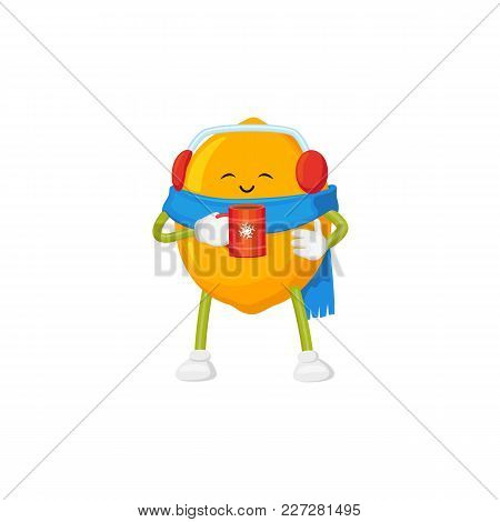 Funny Cute Lemon Character In Winter Clothes Drinking Hot Tea, Cartoon Vector Illustration Isolated