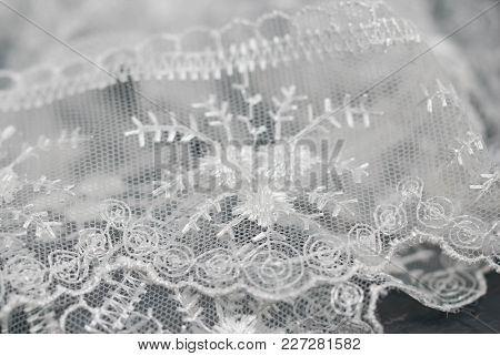 Detailed Wedding White Lace Textured Fabric With Floral Pattern. Texture And Background