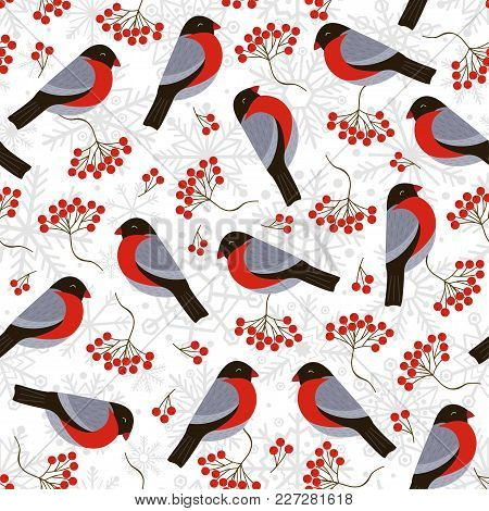 Seamless Pattern With Bullfinches And Rowan - Vector Illustration, Eps