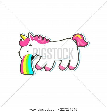 Vector Cartoon Funny Stylized Unicorn Standing On Hind Legs With Colorful Hair And Pink Horn, Unicor