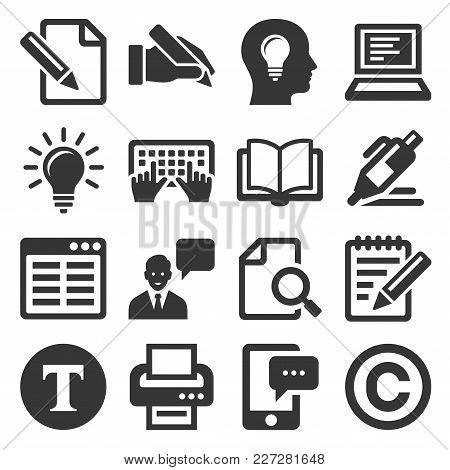 Copywriting Icons Set On White Background. Vector Illustration