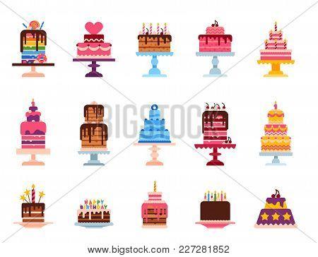 Wedding Or Birthday Pie Cakes Flat Sweets Dessert Bakery Ceremony Delicious Vector Illustration. Tas