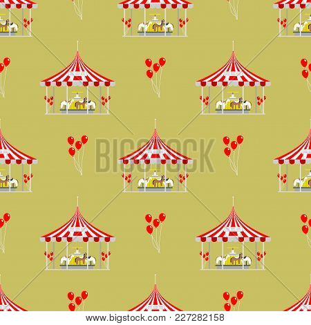 Circus Tent Marquee With Stripes And Flags Carnival Seamless Pattern Entertainment Amusement Element