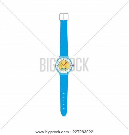 Unfastened Mechanical Wristwatch, Wrist Watch With Blue Plastic Wristband, Flat Vector Illustration