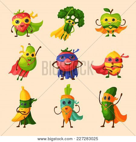 Superhero Fruits Vector Fruity Cartoon Character Of Super Hero Expression Vegetables With Funny Appl