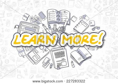 Cartoon Illustration Of Learn More, Surrounded By Stationery. Business Concept For Web Banners, Prin