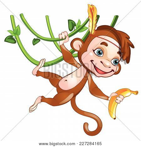 Funny Monkey Holding A Banana. Vector Illustration.