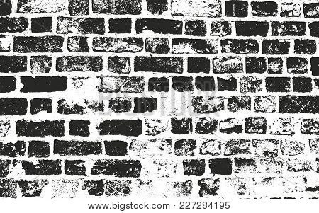 Distressed Overlay Texture Of Old Brickwork, Grunge Background. Abstract Halftone Vector Illustratio