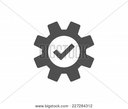 Cogwheel Simple Icon. Approved Service Sign. Transmission Rotation Mechanism Symbol. Quality Design