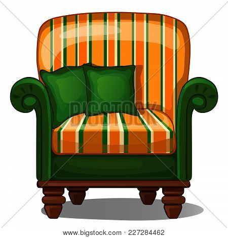 Vintage Armchair With Green Pillows Isolated On White Background. Vector Cartoon Close-up Illustrati