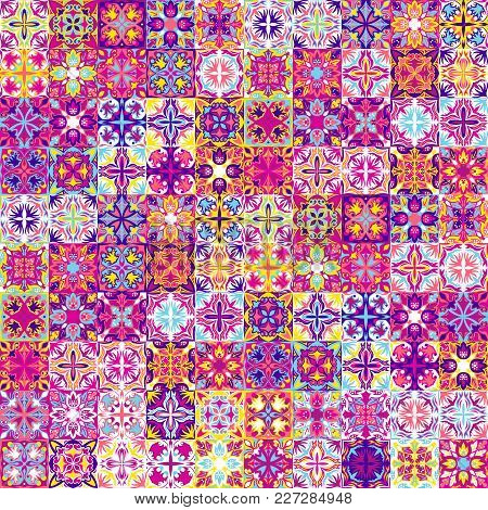 Vintage Bright Seamless Intricate Tile Pattern For Textiles Or For Interior Design. Ceramic Paint Fl