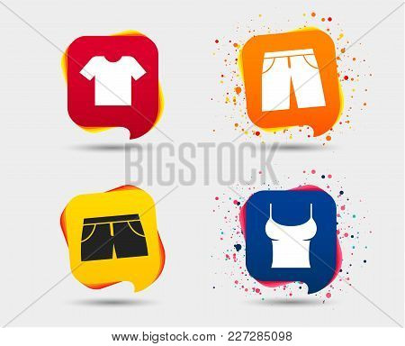 Clothes Icons. T-shirt And Pants With Shorts Signs. Swimming Trunks Symbol. Speech Bubbles Or Chat S