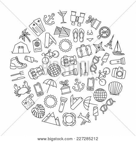 Round Design Element With Traveling Icons On White Background