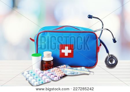 Medical First Aid First Aid Kit Medical Supplies White Background Healthcare And Medicine Still Life