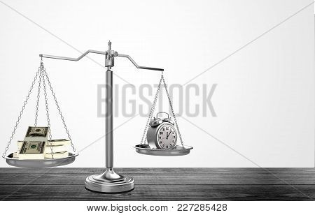 Law Scale Background Money Clock Symbol Concept