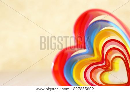 Abstract Bright Multicolored Iridescent Rectangular Beige Background With Wavy Lines Of Different Sh