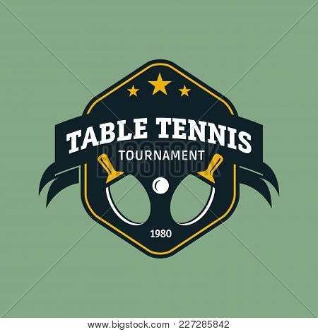 Vintage Color Table Tennis Logo. Ping Pong Championship Label Or Badge