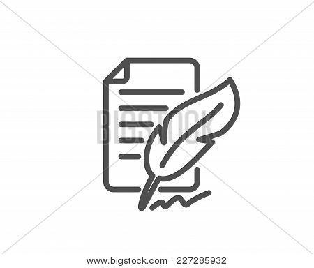 Feather Signature Line Icon. Copywriting Sign. Feedback Symbol. Quality Design Element. Editable Str