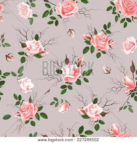 Vintage Floral Seamless Background With Blooming Pink Roses, Vector Illustration.