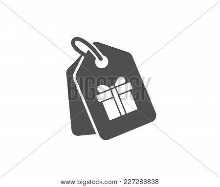 Coupons With Gifts Simple Icon. Present Box Or Sale Sign. Birthday Shopping Symbol. Package In Gift