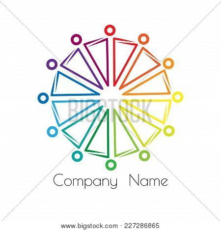 Rainbow Logo Sociocultural Relations And Equality. People Stand In A Circle Holding Hands. Vector