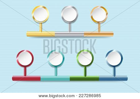 Infograph Of White Circles Ready For Your Text  With Golden, Silver, Bronzed And Colorful Metal Edge