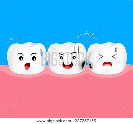 Tooth Character With Dentin Decay. Dental Care Concept. Illustration Isolated On Blue Background.