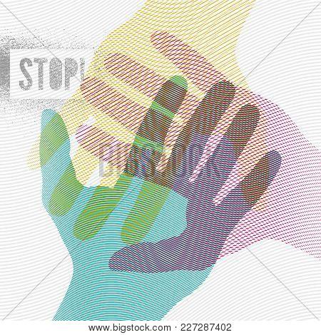 Stop! Typographic Retro Grunge Splash Stencil Protest Poster. Vector Illustration.