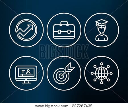 Set Of Target, Student And Portfolio Icons. Audit, Online Video And International Globe Signs. Targe