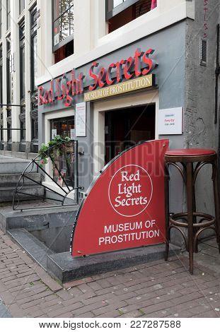 Amsterdam, Netherlands - April 20, 2017: Red Light Secrets Museum Of Prostitution, Amsterdam, Hollan