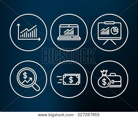 Set Of Money Transfer, Presentation And Graph Icons. Online Statistics, Currency Audit And Salary Si