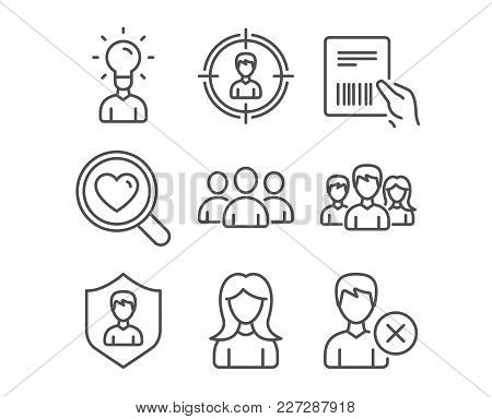 Set Of Woman, Search Love And Headhunting Icons. Parcel Invoice, Group And Education Signs. Teamwork